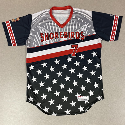 Patriotic Game Worn Autographed Jersey #7 Size 42 Dave Anderson