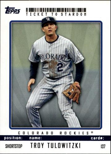 Photo of 2009 Topps Ticket to Stardom Blue #137 Troy Tulowitzki