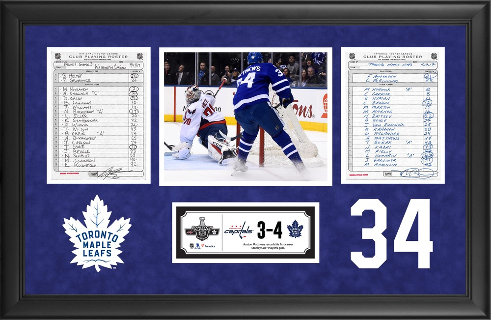 Toronto Maple Leafs Framed Original Line-Up Cards From April 17, 2017 vs. Washington Capitals - Auston Matthews First Stanley Cup Playoffs Goal