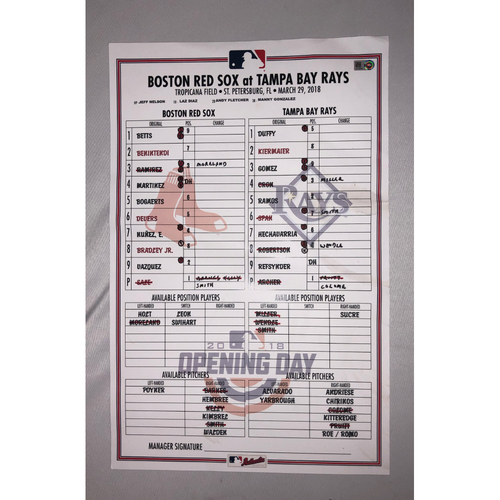Photo of Red Sox vs Rays March 29, 2018 Game-Used Opening Day Lineup Card