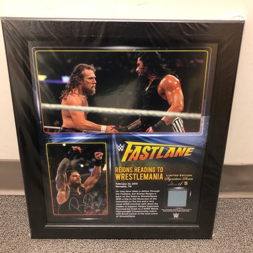 Photo of Roman Reigns SIGNED FastLane 2015 Signature Series Ring Canvas Plaque (#1 of 5)
