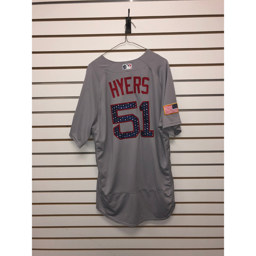Photo of Tim Hyers Game-Used July 4, 2018 Stars and Stripes Road Jersey