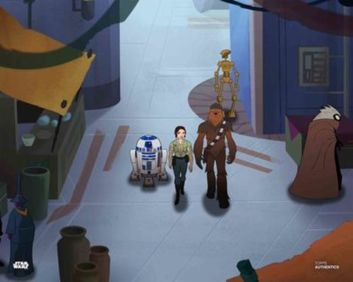 Princess Leia Organa, Chewbacca and R2-D2