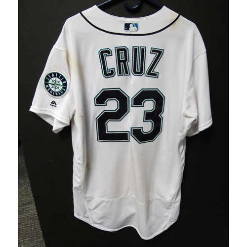 Photo of Seattle Mariners Nelson Cruz Game Used Home White Jersey - 7/21/18 vs. White Sox