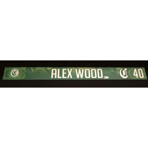 Photo of Alex Wood -- Team-Issued Locker Name Plate -- 2019 St. Patrick's Day