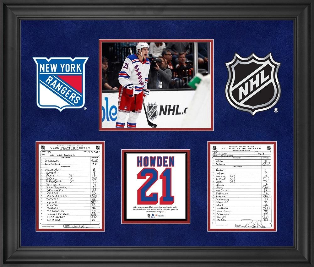 New York Rangers Framed Original Line-Up Cards from November 1, 2018 vs. Anaheim Ducks - Brett Howden First NHL Multi-Point Game