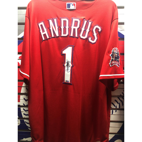 Photo of Elvis Andrus Final Season Patch Red Autographed Replica Jersey