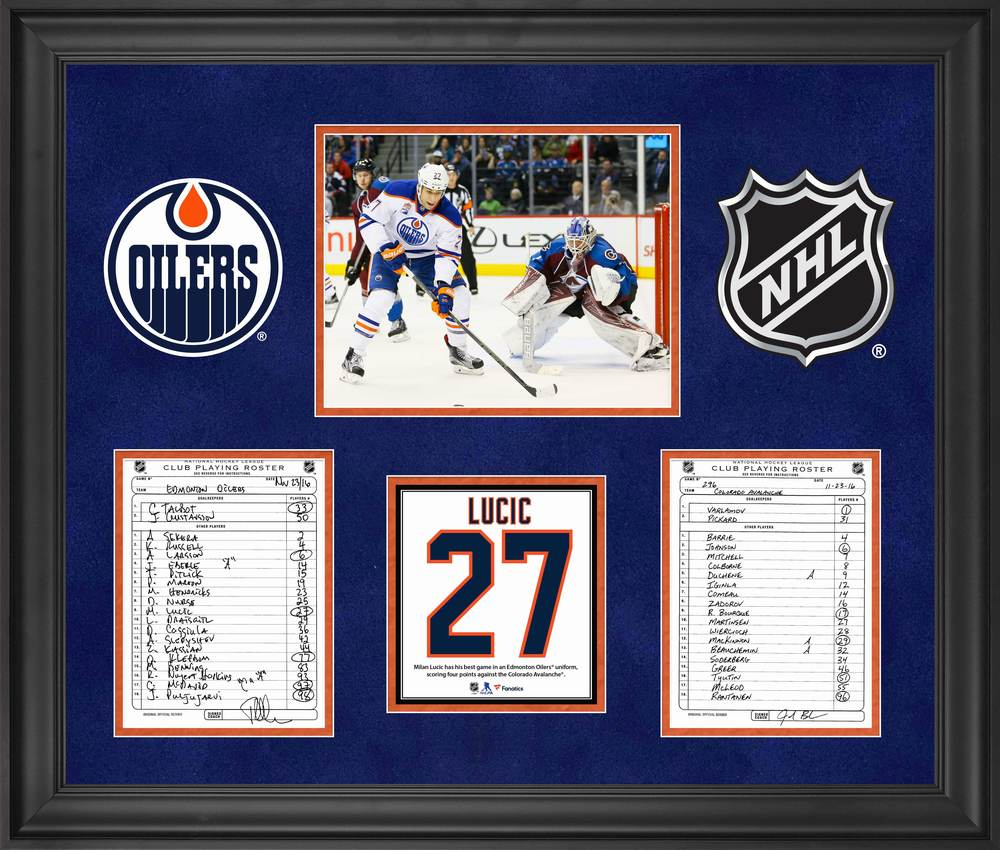 Edmonton Oilers Framed Original Line-Up Cards from November 23, 2016 vs. Colorado Avalanche - Milan Lucic Four Point Game