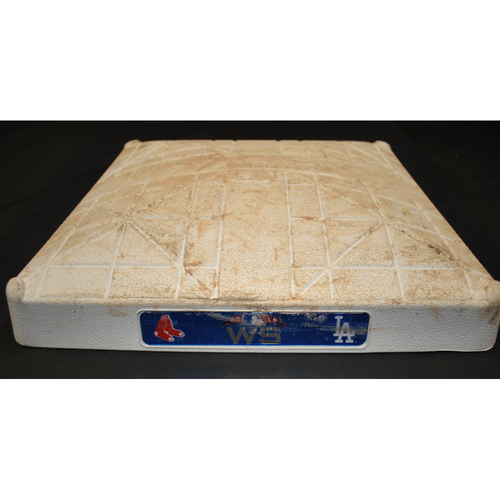 Photo of Game-Used Base - 2018 World Series - Boston Red Sox at Los Angeles Dodgers - 3rd Base - Innings 8 - 18 - Game 3 - 10/26/2018