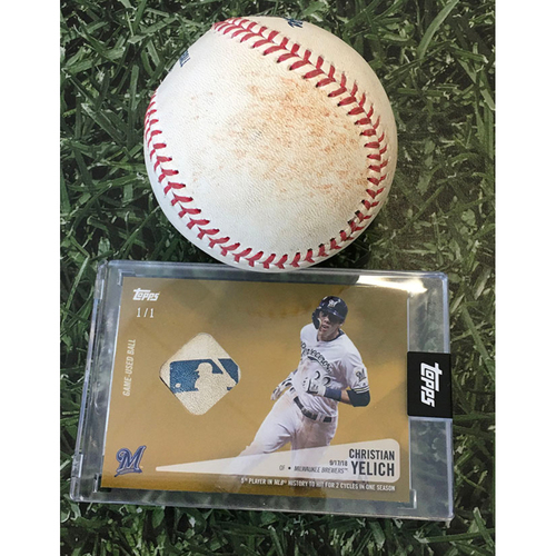 Photo of Game-Used Baseball KC@MIL 09/20/20 - Brad Keller - Christian Yelich: Single (Includes Christian Yelich Topps Relic Card Commemorating 2nd Career Cycle [09/17/18] - Limited Edition # 1 / 1)