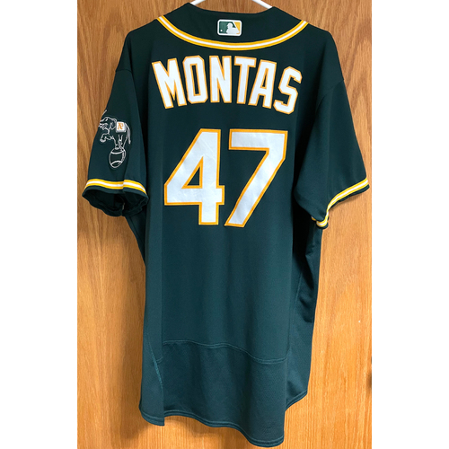 Photo of Frankie Montas Game-Used 2020 ALDS Jersey