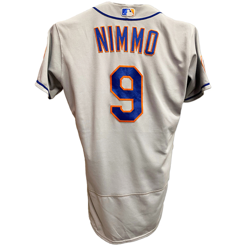 Photo of Brandon Nimmo #9 - Game Used Opening Day Road Grey Jersey with Seaver Patch - 1-3, BB, 1 Run Scored - Mets vs. Phillies - 4/5/21