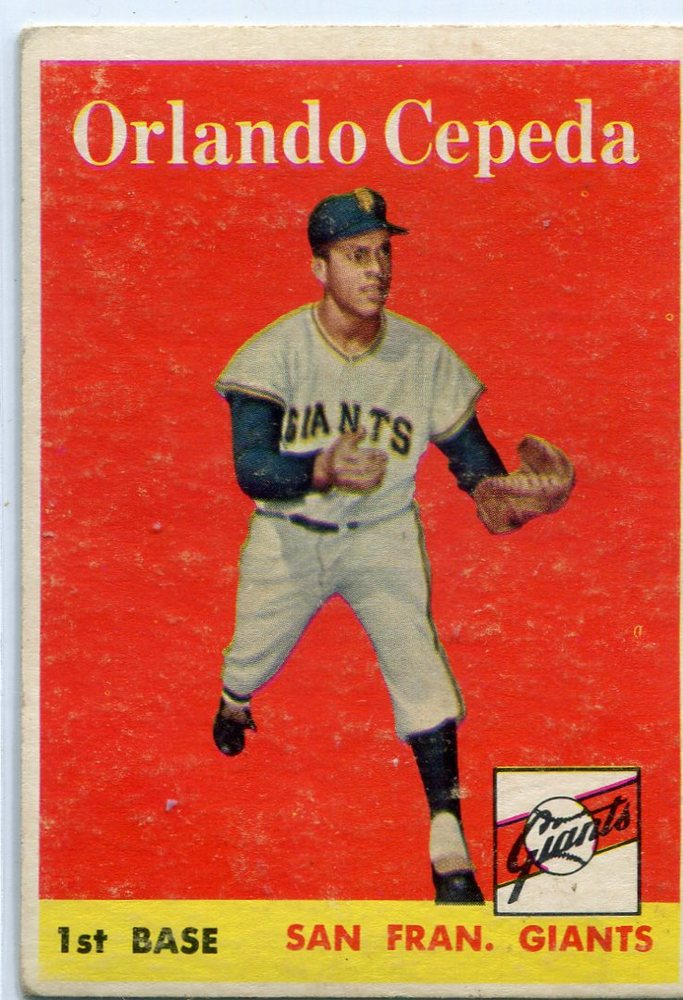 1958 Topps #343 Orlando Cepeda Rookie Card -- Giants Hall of Famer