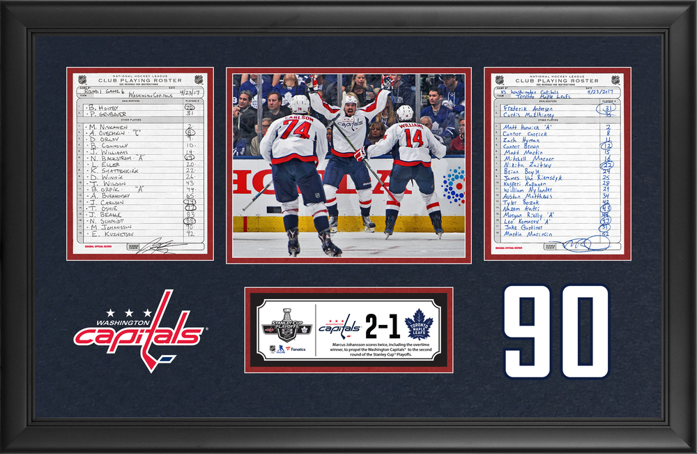 Washington Capitals Framed Original Line-Up Cards From April 23, 2017 vs. Toronto Maple Leafs - Marcus Johansson Scores Overtime Game-Winning Goal