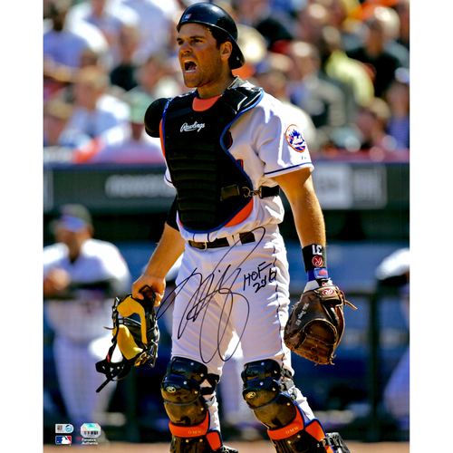 """Photo of Mike Piazza New York Mets Autographed 16"""" x 20""""  In Catchers Gear Photograph with HOF 2016 Inscription"""