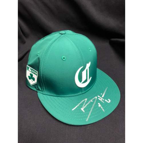 Photo of Billy Hamilton -- Autographed -- Reds St. Patrick's Day Cap -- Game-Used