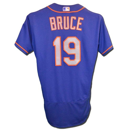 Photo of Jay Bruce #19 - Game Used Blue Alternate Road Jersey - Bruce Goes 3-5; Triple, Game Winning HR (2) in 10th Inning, 2 RBI's, 1 Run Scored - Mets vs. Cardinals - 4/24/18