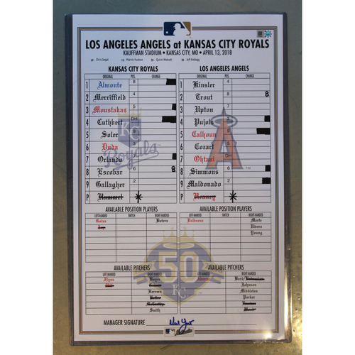 Photo of Game-Used Line-Up Card: (LAA at KC - 4/13/2018)