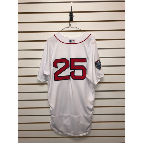 Photo of Steve Pearce Game-Used October 23, 2018 World Series Game 1 Home Jersey