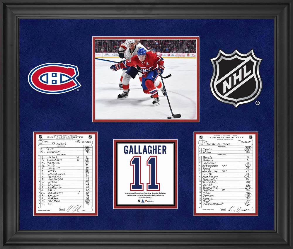 Montreal Canadiens Framed Original Line-Up Cards from March 30, 2017 vs. Florida Panthers - Brendan Gallagher Four Point Game