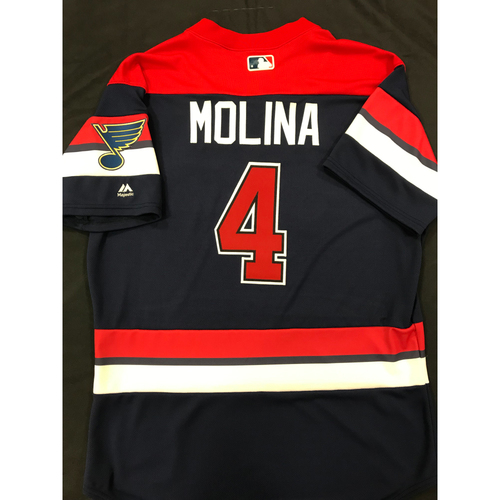Photo of Yadier Molina Team Issued 2019 St. Louis Blues Themed Cardinals Jersey (Size 46)