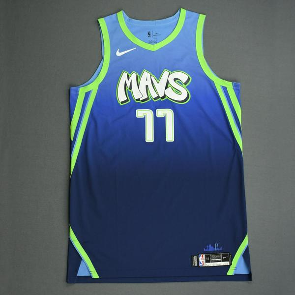 Image of Luka Doncic - Dallas Mavericks - Game-Worn City Edition Jersey - Double-Double - Scored Game-High 33 Points - Grabbed a Season and Career-High 18 R...
