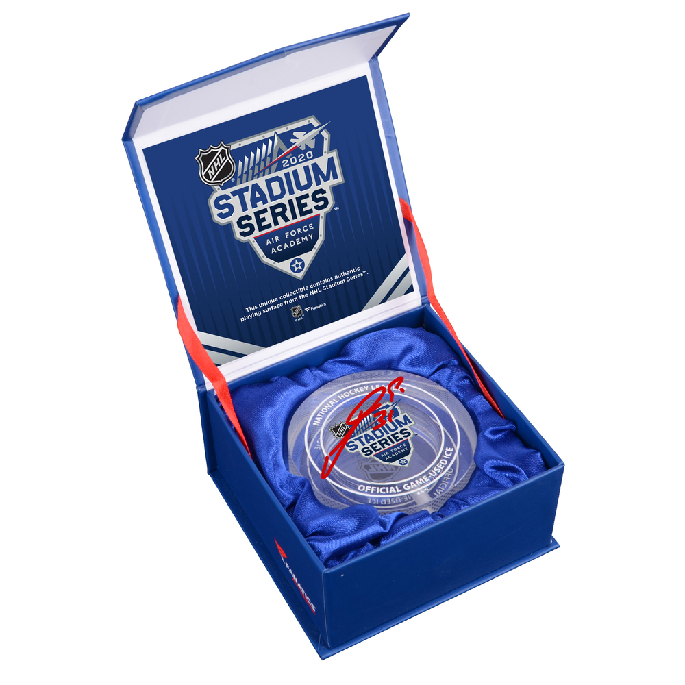 Philipp Grubauer Colorado Avalanche Autographed 2020 NHL Stadium Series Crystal Puck - Filled with Ice from the 2020 NHL Stadium Series