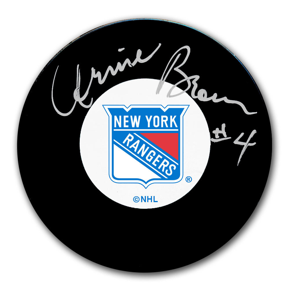 Arnie Brown New York Rangers Autographed Puck