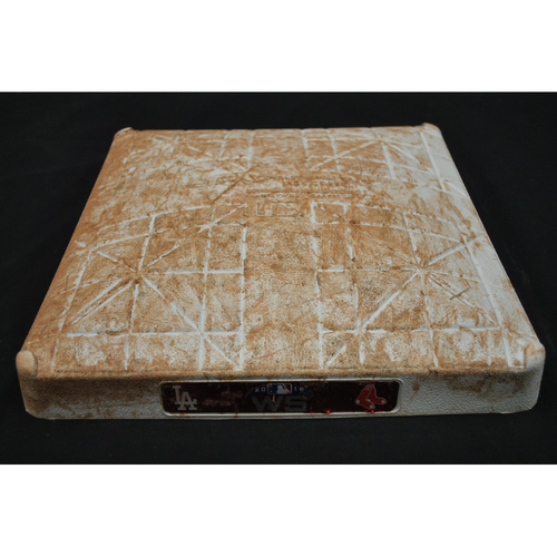 Photo of Game-Used Base - 2018 World Series - Los Angeles Dodgers at Boston Red Sox - 1st Base - Innings 1 - 4 - Game 1 - 10/23/2018