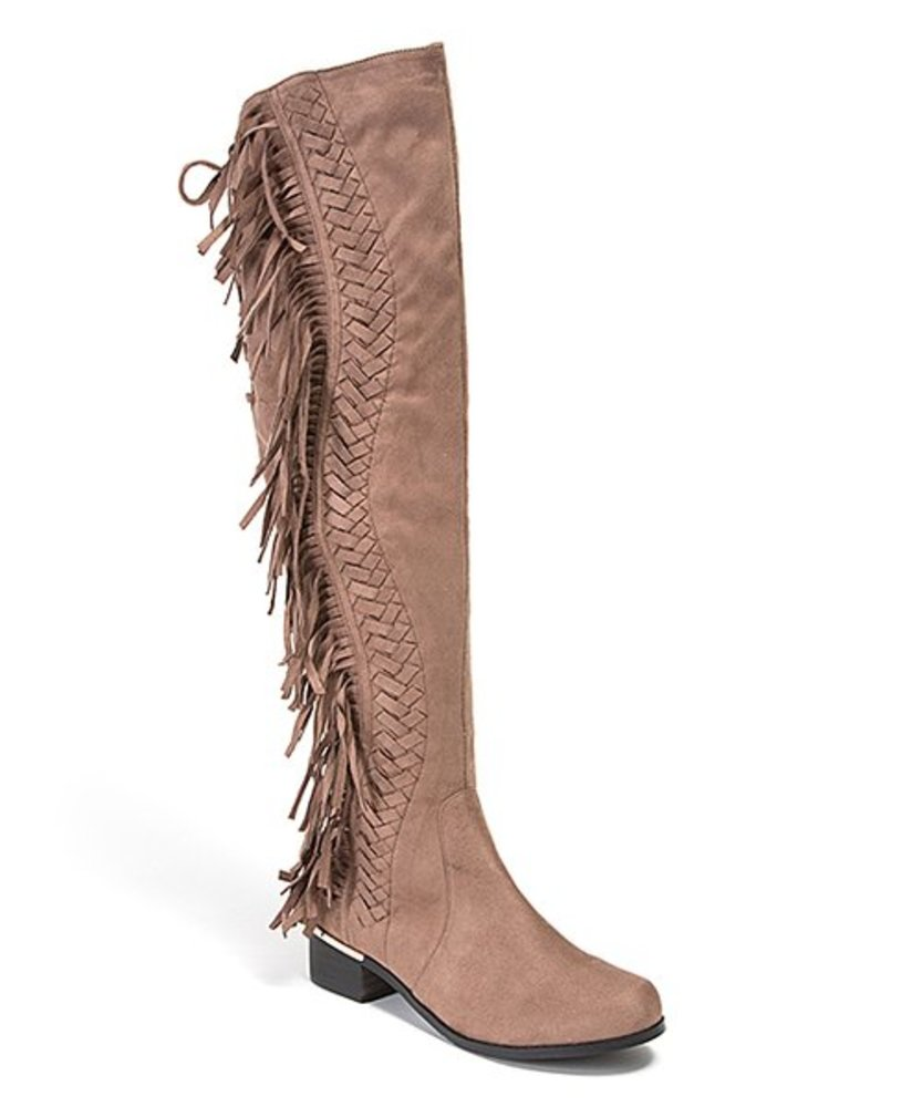 Photo of Lady Couture Mircosuede Fringe Knee Length Boots