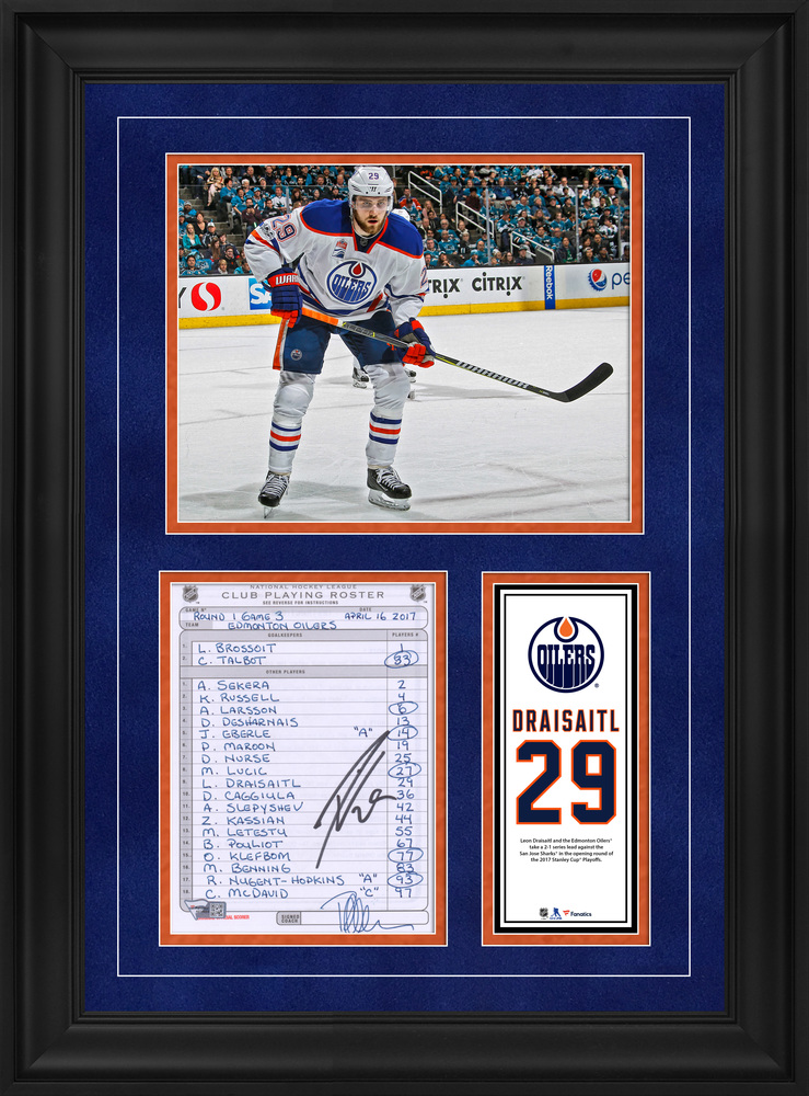 Leon Draisaitl Edmonton Oilers Framed Autographed Original Line-Up Card from April 16, 2017 vs. San Jose Sharks - Edmonton Oilers Take a 2-1 Series Lead