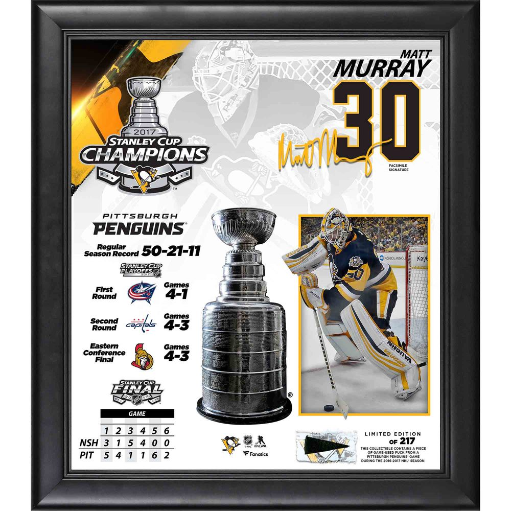 Matt Murray Penguins 2017 Stanley Cup Champions Framed 15
