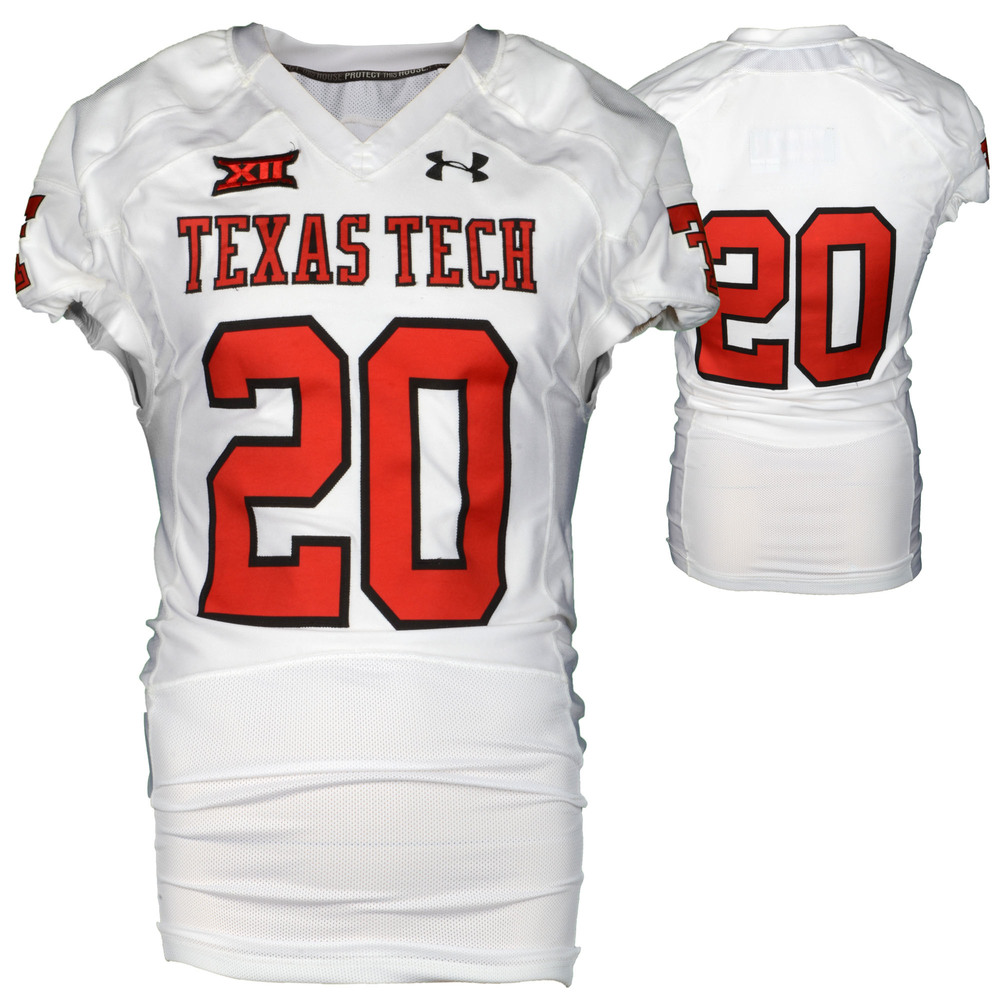 Texas Tech Red Raiders Game-Used White #20 Jersey Used During Victories Against Arkansas and Texas during the 2015 Season - Size 44