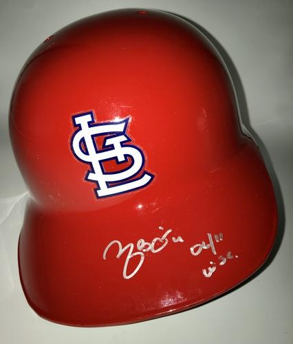 "Photo of Yadier Molina ""06/11 WSC"" Autographed Full-Size Cardinals Batting Helmet"