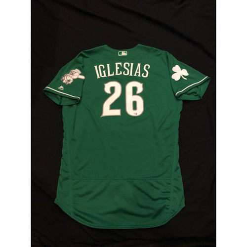 Photo of Raisel Iglesias - Game-Used Jersey - Worn for 2017 St. Patrick's Day Game