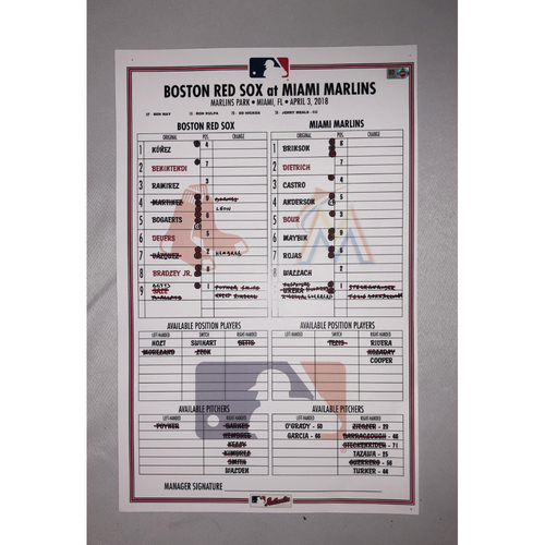 Photo of Red Sox vs Marlins April 3, 2018 Game-Used Lineup Card - Red Sox Win 4 to 2 in 13 Innings