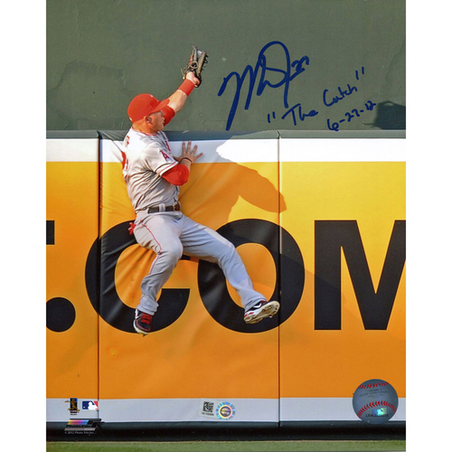 "Photo of Mike Trout Los Angeles Angels Autographed The Catch 8'' x 10'' Photograph with ""The Catch 6-27-12"" Inscription"
