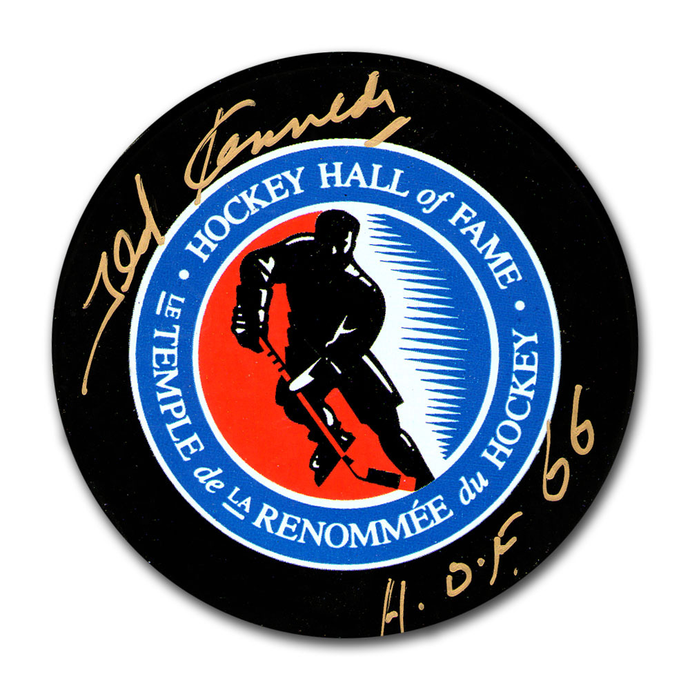 Ted Kennedy (deceased) Autographed Hockey Hall of Fame Puck w/HOF 66 Inscription (Toronto Maple Leafs)