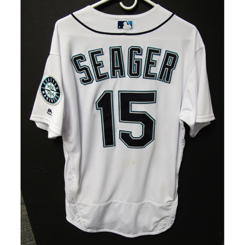 Photo of Seattle Mariners Kyle Seager Game Used Home White Jersey - 5/19/18 vs. Tigers