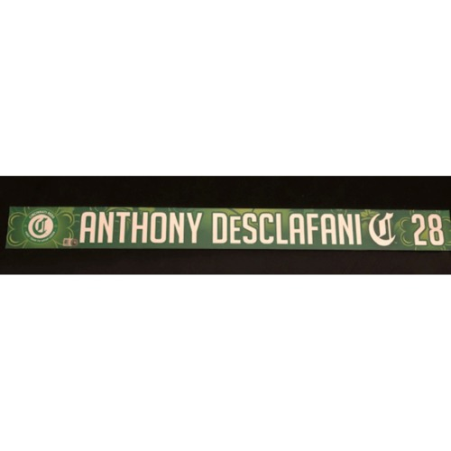 Photo of Anthony DeSclafani -- Game-Used Locker Name Plate -- 2019 St. Patrick's Day