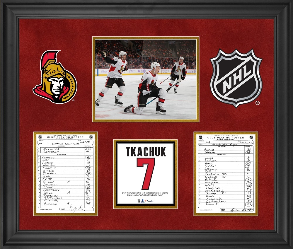 Ottawa Senators Framed Original Line-Up Cards from November 27, 2018 vs. Philadelphia Flyers - Brady Tkachuk Multi-Point Game