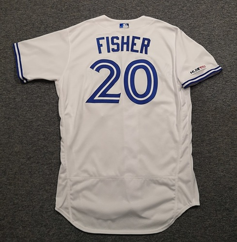Photo of Authenticated Game Used Jersey: #20 Derek Fisher (Aug 9, 19 vs NYY: 0-for-2 with 1 Run and 1 BB, Aug 16, 19 vs SEA: 1-for-3 with 1 HR, 1 Run and 2 RBI). Size 46