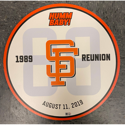 "Photo of 2019 Team Issued Ceremony Disc - 1989 Team Reunion ""Humm Baby!"" - from August 11, 2019 Pre-Game Ceremony"