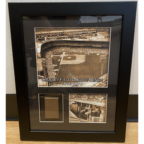 Photo of Framed Piece of Crosley Field Dugout Bench (Number 6 of 150)