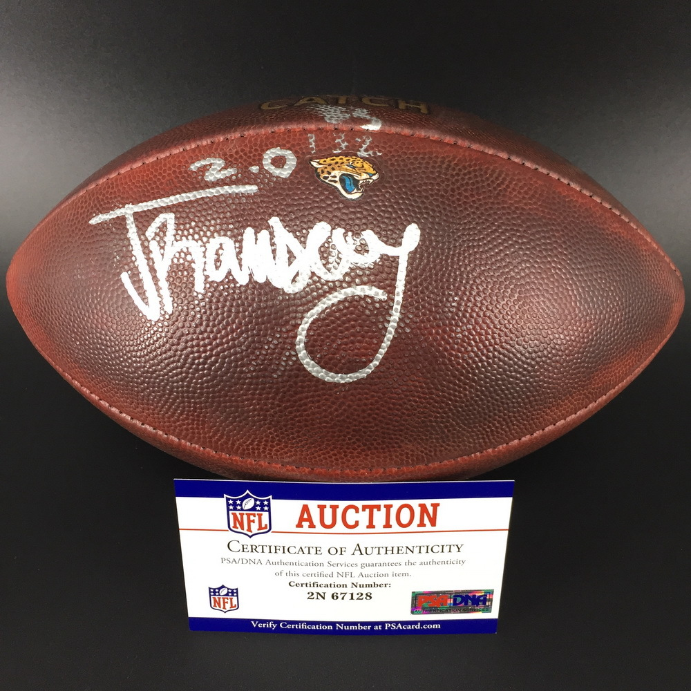 Crucial Catch - Jaguars Jalen Ramsey Signed Game Used Football (2017 Season)