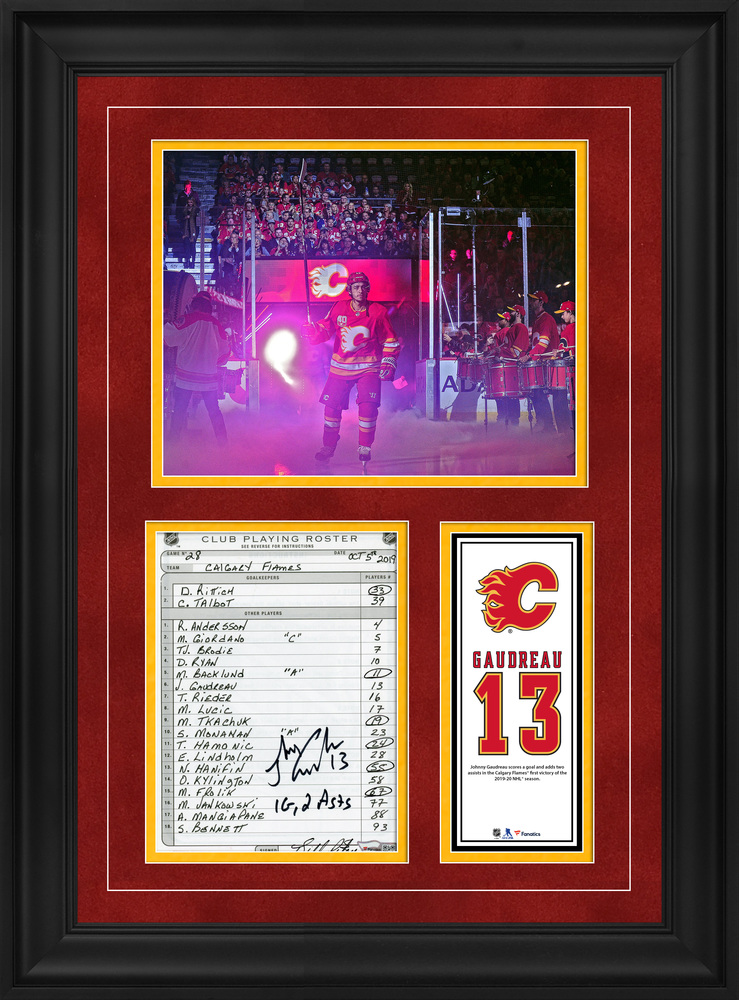Johnny Gaudreau Calgary Flames Framed Autographed Original Line-Up Card from October 5, 2019 vs. Vancouver Canucks with Multiple Inscriptions - Goal and Two Assists in Season's First Victory