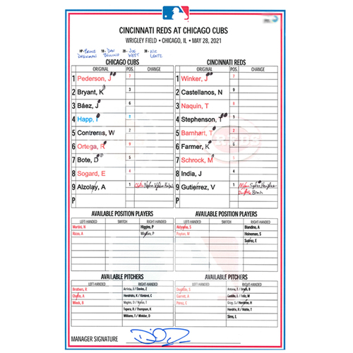 Photo of Game-Used Lineup Card -- Arrieta 3rd Win (5.2 IP, 0 ER, 6 K) -- Bote 5th HR -- Reds vs. Cubs -- 5/28/21