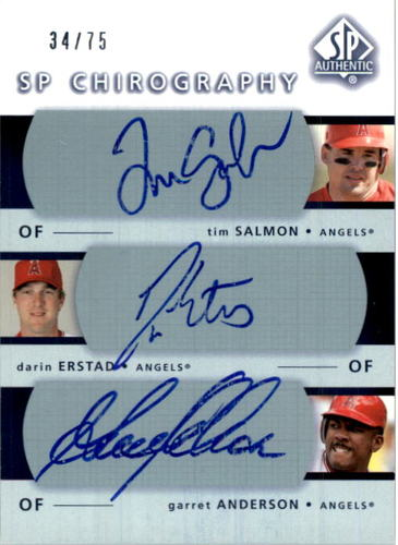 Photo of 2003 SP Authentic Chirography Triples #SEA Tim Salmon/Darin Erstad/Garret Anderson/75