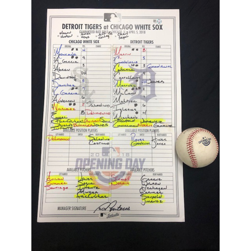 Photo of Game-Used Lineup Card and Baseball from White Sox Opening Day 2018