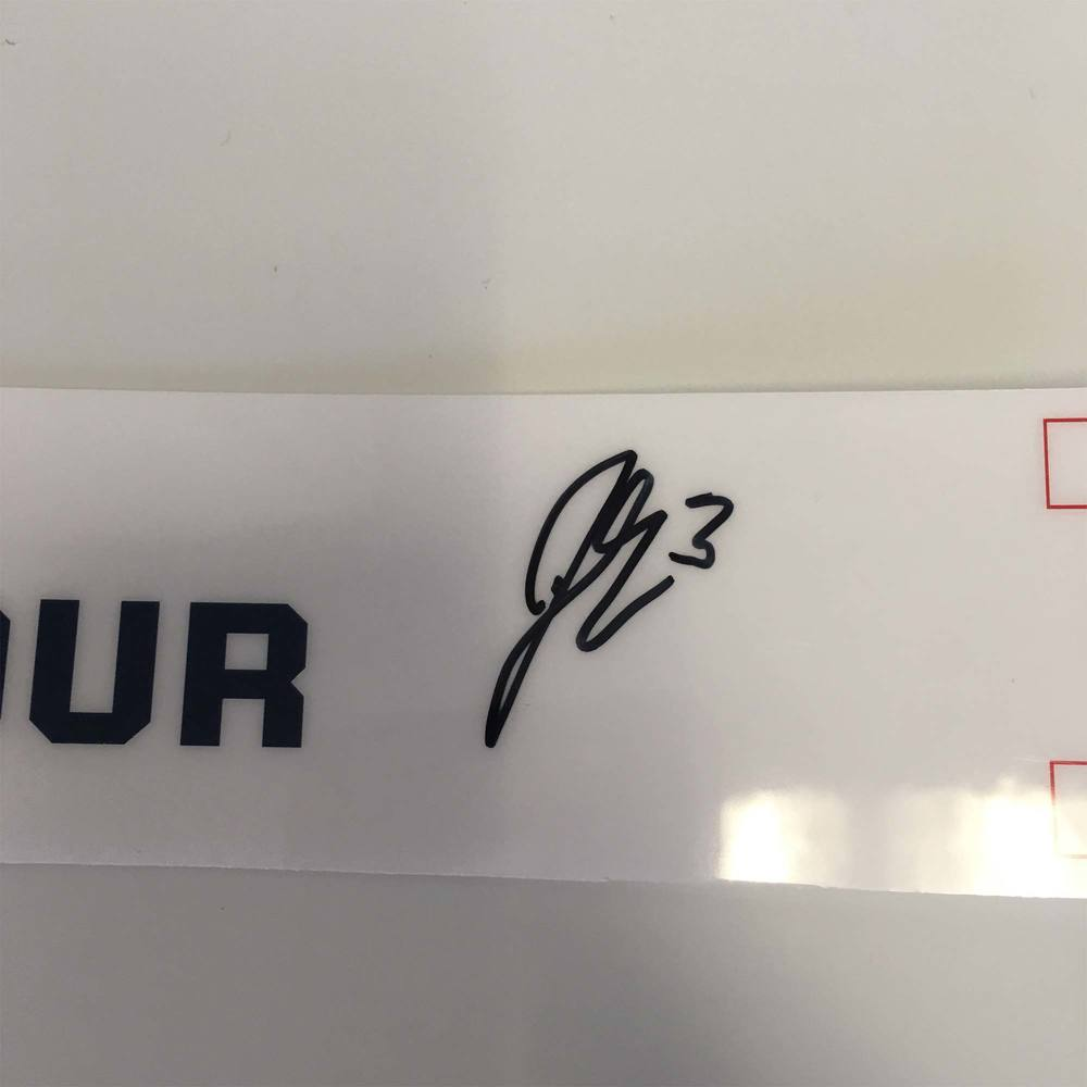 2019 Lexus AHL All-Star Locker Room Nameplate Used and Signed by #3 John Gilmour